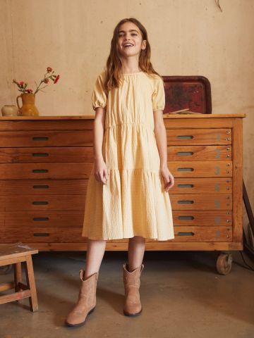 שמלת מידי בטקסטורת משבצות של MANGO