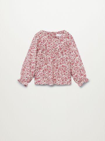 חולצה בהדפס פרחים עם שרוולים נפוחים / 9M-5Y של MANGO