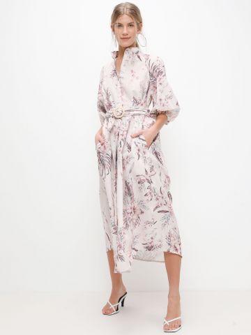שמלת מידי מכופתרת בהדפס פרחים של YANGA