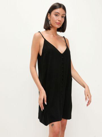 שמלה דמוי פשתן עם כפתורים של TERMINAL X