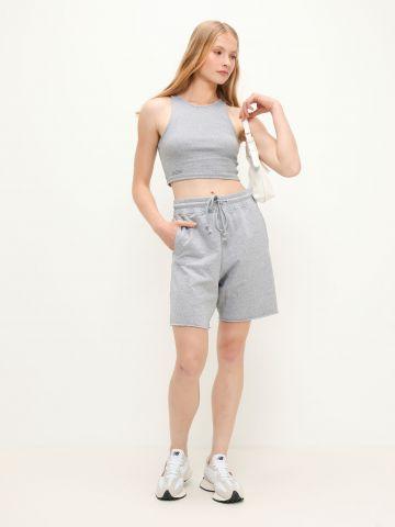 מכנסי טרנינג ברמודה עם הדפס כיתוב של TERMINAL X