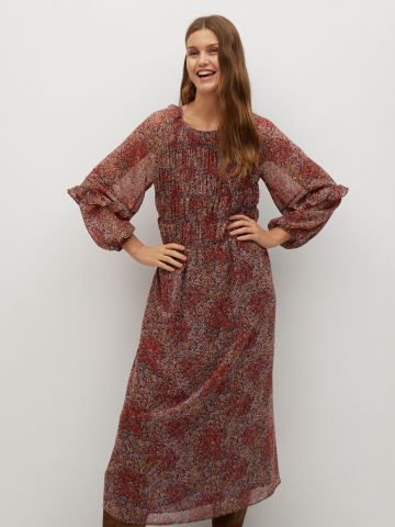 שמלת מידי בהדפס פרחים בשילוב כיווצים של MANGO