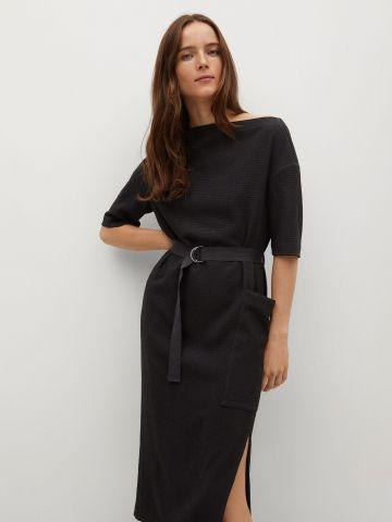 שמלת מידי בטקסטורה עם חגורה של MANGO