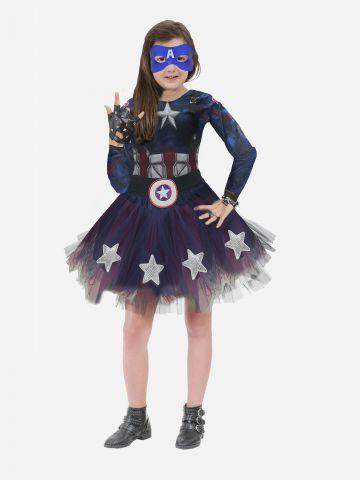תחפושת קפטן אמריקה לילדות / תחפושת לפורים של SHOSHI ZOHAR
