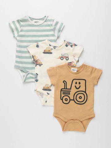 מארז 3 בגדי גוף בהדפסים ובצבעים שונים / 0M-2Y של TERMINAL X KIDS