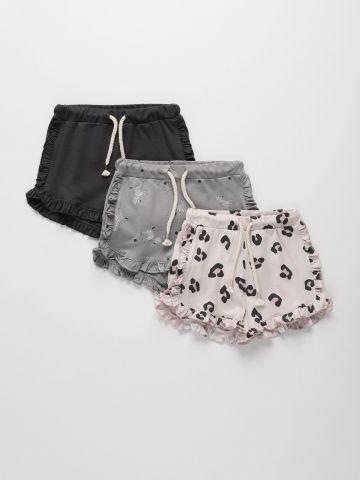 מארז 3 מכנסי טרנינג קצרים מבד דק עם מלמלה / 3M-6M של TERMINAL X KIDS