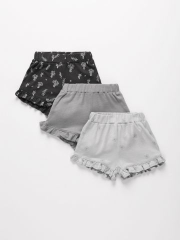 מארז 3 מכנסיים קצרים בסיומת מלמלה מבד ג'רסי דק 1 0M-2Y של TERMINAL X KIDS
