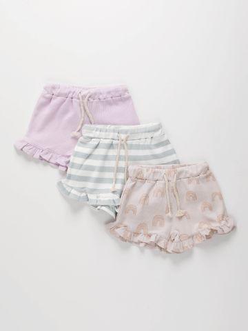 מארז 3 מכנסי ריב קצרים בשילוב מלמלה / 0-2Y של TERMINAL X KIDS