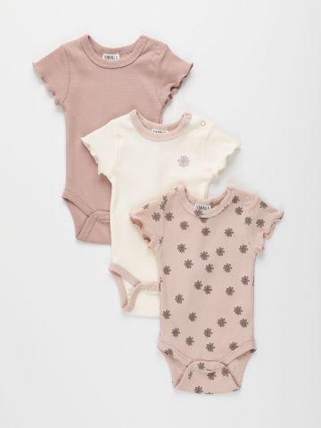 מארז 3 בגדי גוף ריב בהדפסים שונים / 0M-2Y של TERMINAL X KIDS