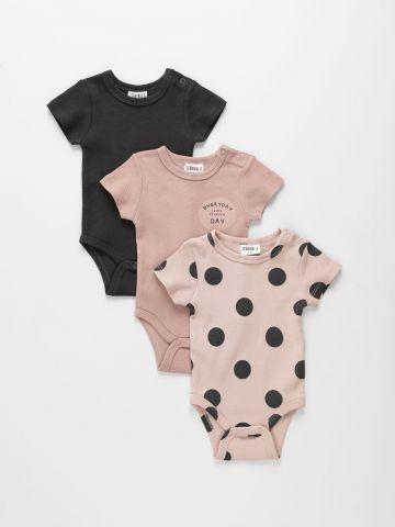 מארז 3 בגדי גוף ריב בצבעים שונים / 0-2Y של TERMINAL X KIDS