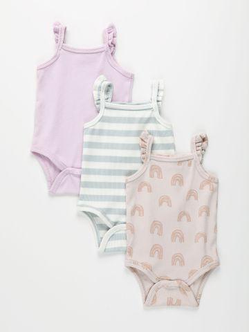 מארז 3 בגדי גוף ריב בהדפסים שונים / 0-2Y של TERMINAL X KIDS