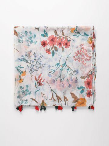 צעיף בהדפס פרחים עם פרנזים של YANGA