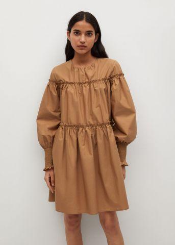 שמלה עם כיווצים ושרוולים נפוחים של MANGO