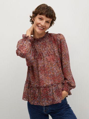 חולצת פפלום בהדפס פרחים עם כיווצים של MANGO