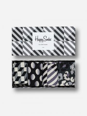 מארז 4 זוגות גרביים בהדפסים / יוניסקס של HAPPY SOCKS
