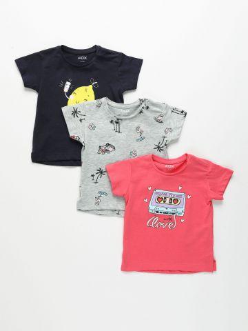 מארז 3 חולצות בהדפסים שונים / 6M-3Y של FOX