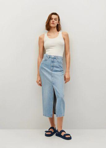 חצאית ג'ינס עם שסע Slim של MANGO
