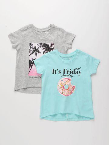 מארז 2 חולצות טי שירש בהדפסים שונים / בנות של FOX