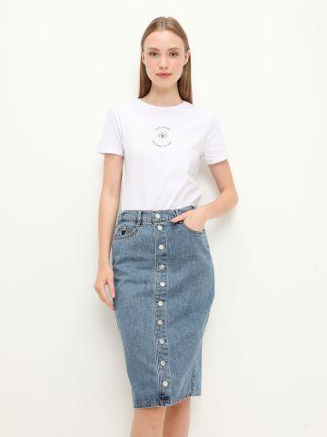 חצאית ג'ינס עם כפתורים של FOX