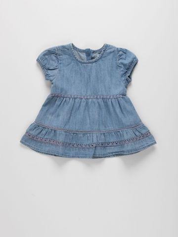 שמלת ג'ינס בשילוב תחרה / 3M-3Y של FOX