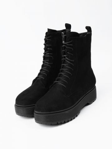 מגפיים צבאיים דמוי זמש עם פלטפורמה / נשים של TERMINAL X