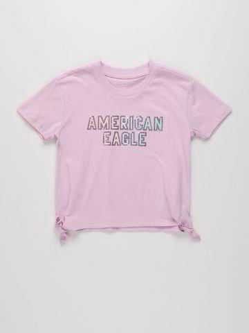 טי שירט עם קשירה והדפס לוגו / בנות של AMERICAN EAGLE