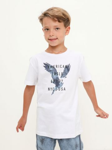 טי שירט עם הדפס לוגו של AMERICAN EAGLE