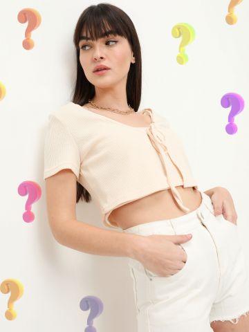 חולצת וופל קרופ עם קשירה של QUESTION MARK