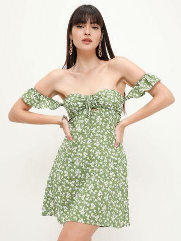שמלת מיני אוף שולדרס עם כיווצים של QUESTION MARK
