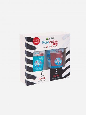 מארז פיור אקטיב 3 ב-1 Pure Active Pack של GARNIER