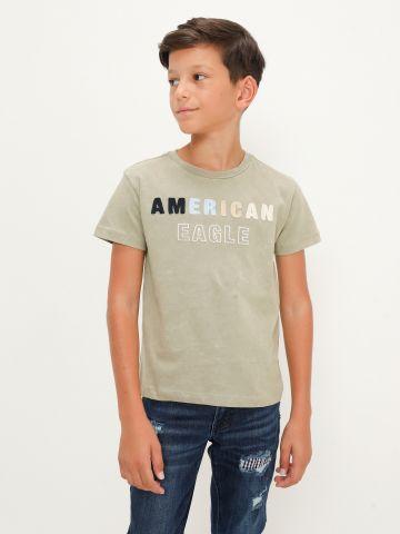 טי שירט עם רקמת לוגו של AMERICAN EAGLE