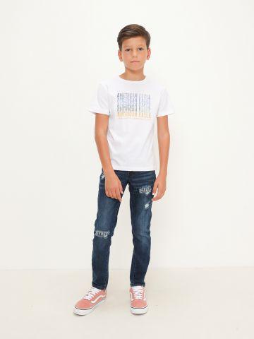 ג'ינס בגזרת סקיני עם קרעים של AMERICAN EAGLE