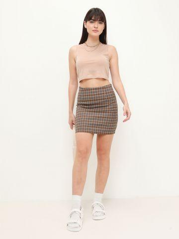 חצאית מיני בהדפס משבצות של QUESTION MARK