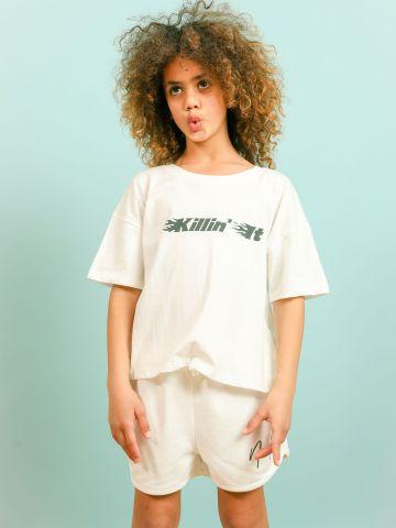 טי שירט עם הדפס Killin' It / בנות של NOA KIREL X TERMINAL X