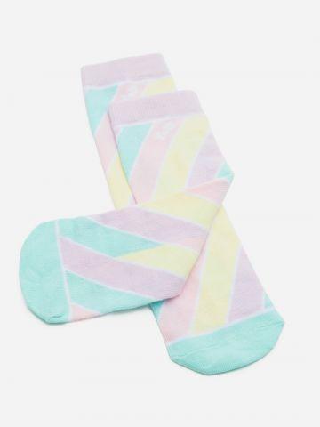 זוג גרביים בהדפס פסים / בנות של YOLO