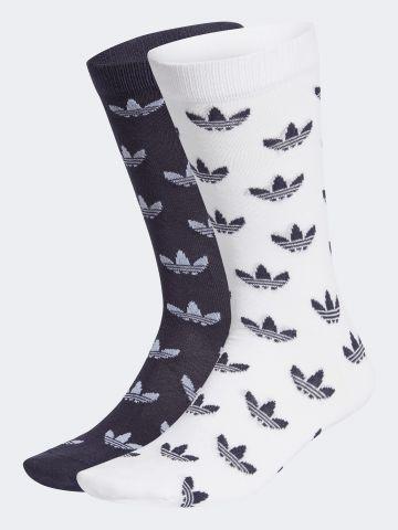 מארז 2 זוגות גרביים גבוהים בהדפס לוגו / נשים של ADIDAS Originals