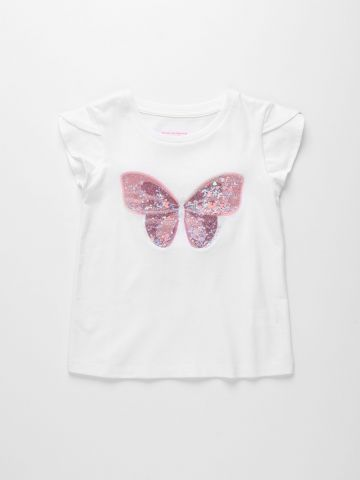 חולצה עם רקמת פייטים פרפר / 6M-4Y של THE CHILDREN'S PLACE