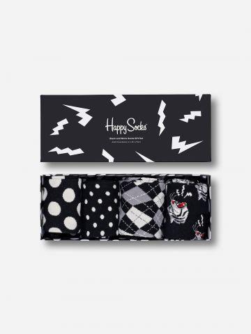 מארז 4 זוגות גרביים בדוגמאות שונות / גברים של HAPPY SOCKS