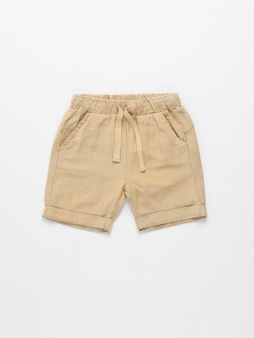 מכנסי פשתן קצרים בסיומת קיפול / 6M-3Y של TERMINAL X KIDS