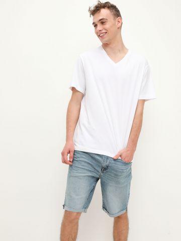 ג'ינס קצר ווש בסיומת קיפול של AMERICAN EAGLE