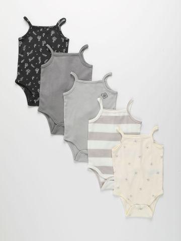 מארז 5 בגדי גוף בהדפסים שונים / 0-2Y של TERMINAL X KIDS