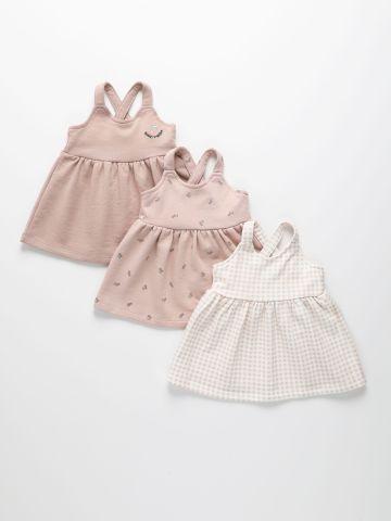 מארז 3 שמלות פפלום פרנץ' טרי בהדפסים שונים / 3M-4Y של TERMINAL X KIDS