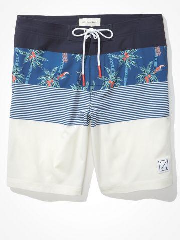 מכנסי בגד ים עם הדפס פרחים בשילוב פסים / גברים של AMERICAN EAGLE