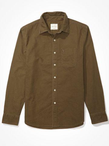 חולצת מכופתרת עם כיס ורקמת לוגו / גברים של AMERICAN EAGLE