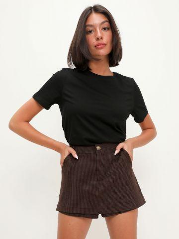 מכנסי חצאית בהדפס משבצות של TERMINAL X