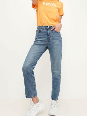 ג'ינס בגזרה גבוהה עם שיפשופים WEDGIE STRAIGHT של LEVIS