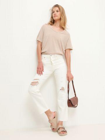 ג'ינס עם קרעים Wedgie Straight של LEVIS