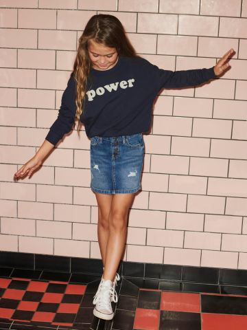 חצאית ג'ינס עם עיטור ניטים של KIDS ONLY