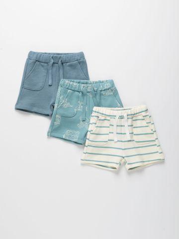 מארז 3 מכנסיים קצרים פרנץ' טרי בצבעים שונים / 3M-4Y של TERMINAL X KIDS