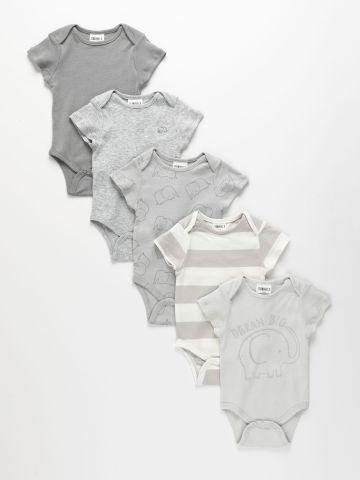 מארז 5 בגדי גוף קצרים בצבעים שונים / 6M-2Y של TERMINAL X KIDS